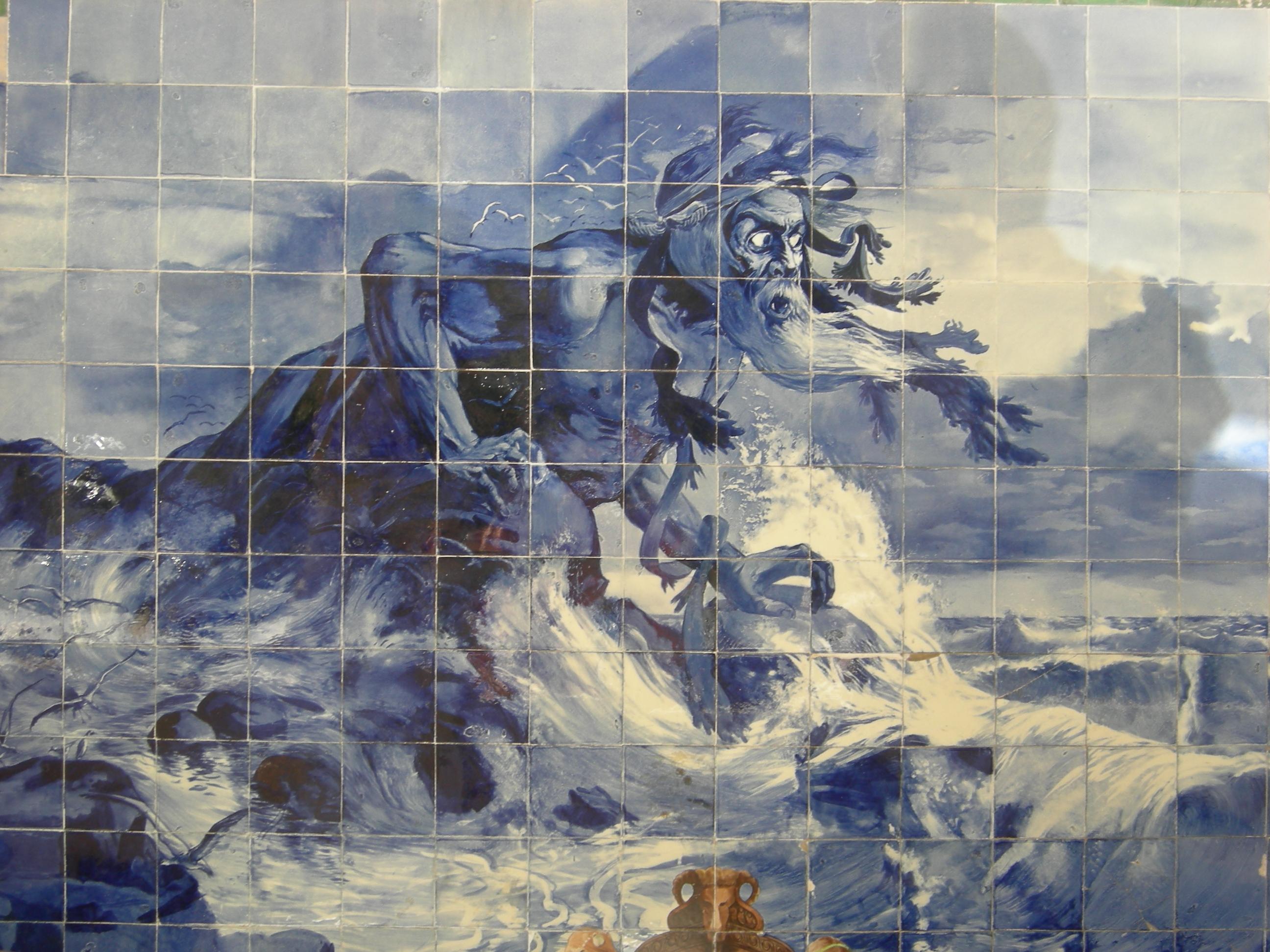 Azulejo di Adamastor il gigante dei mari