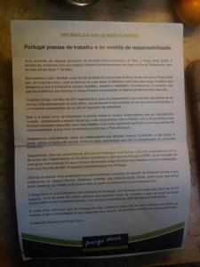Pingo Doce comunicado 1 maio 2011 portugal greve geral