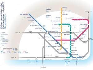Mappa metropolitana Lisbona trasporti