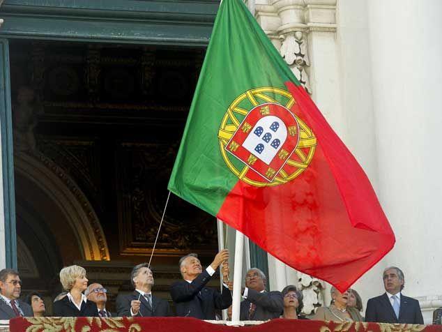 Repubblica Portoghese bandiera al contrario 5 ottobre lisboa commemorazioni